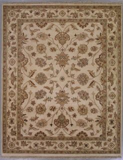 8x10 Ivory Gold Persian Kashan Oriental Hand Knotted Wool Area Rug