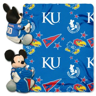 Kansas Jayhawks KU NCAA Disney Mickey Mouse Plush Hugger w Fleece