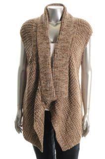Karen Scott New Brown Marled Shawl Collar Open Front Cardigan Sweater