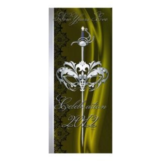 Silver Sword Masquerade Lime New Years Invitation