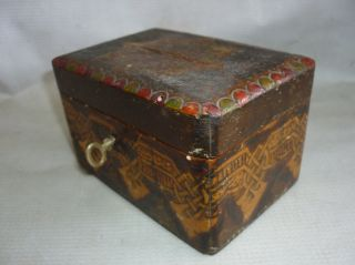 Antique Wooden Cash Box Pokerwork Handmade 19 Century