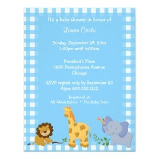 Blue Plaid Baby Animals Baby Shower Invitation