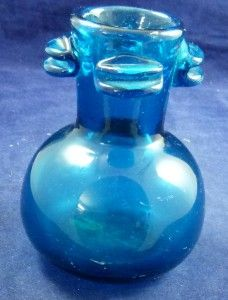 Karlin Rushbrooke Sculpture Studio Art Glass Blue Vase 3 1972 No 176