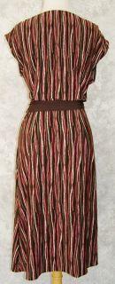 BCBG Max Azria Brown Coral Vertical Print True Wrap Dress L Stretch