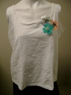 Kathleen Kirkwood Bejeweled Flowers Stretch Tank 2X