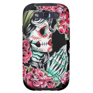 Dia De Los Muertos Sugar Skull Tattoo Flash Galaxy S3 Cover