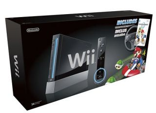 Wii Console with Mario Kart Wii Bundle Black by Nintendo RARE Brand