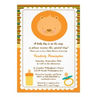 Wild animal lion boys baby shower party invitation