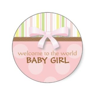 Adorable Baby Girl Stripes + Dots Pink Green w Bow Round Stickers
