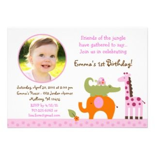 Mod Safari Jungle Animal Girl Birthday Invitations