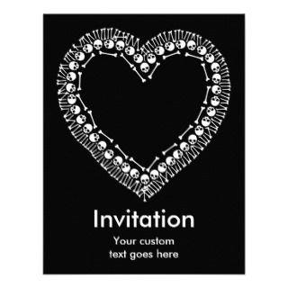 Pretty Skull Heart Personalized Invitations