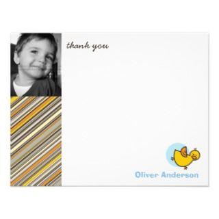 Silly Duckies Blue Kids Birthday Thank You Card Custom Announcements