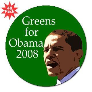 Greens for Obama (48 Lapel Stickers)  Barack Obama 2008 Campaign