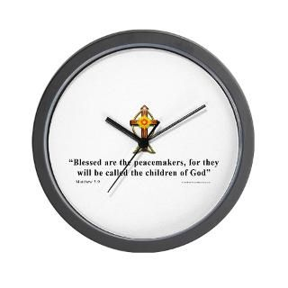Aa Gifts > Aa Home Decor > Matthew 5:9 Christian Quote Wall Clock