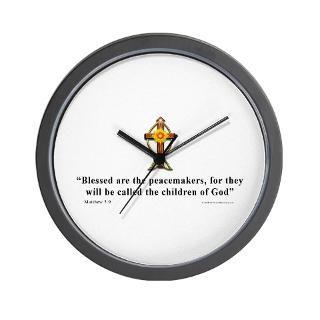 Aa Gifts > Aa Home Decor > Matthew 5:9 Christian Quote Wall Clock