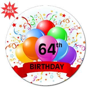 Happy 64Th Birthday Stickers  Car Bumper Stickers, Decals