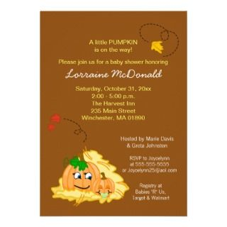 Fall Pumpkin Baby Shower Invitation   Boy or Girl