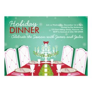 Christmas Dinner Party Invitations   table setting