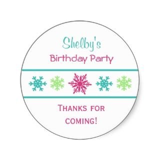 Snowflake Birthday Party Favor Stickers