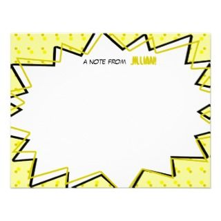 Yellow Pop Art Comic Book Inspired Flat Notecards Invite