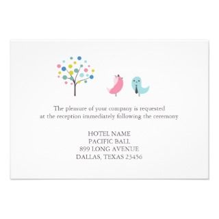 Reception Only Wedding Birds Card Custom Invites