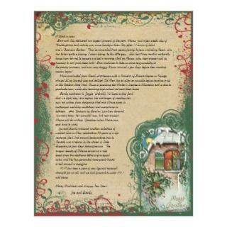 Vintage Cottage Winter Scene Christmas Letter Custom Letterhead