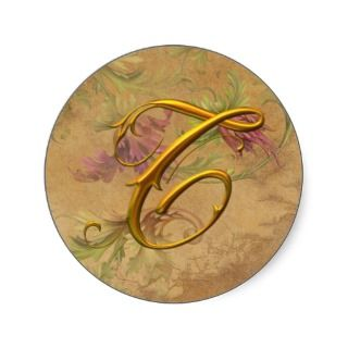 KRW Vintage Floral Gold T Monogram Wedding Seal Stickers