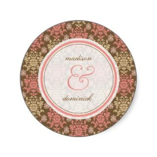 Damask Chic Lace Pink Brown Thank You Seal Sticker
