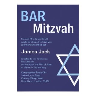 Bar Mitzvah Invitiation  Dark Blue Custom Invitation