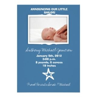 Starfish   Baby Boy Birth Announcement card