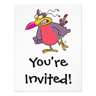 mad bird cartoon character personalized invitations