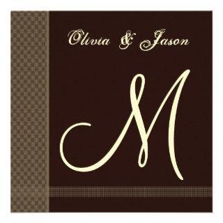 Chocolate Cream Monogram Wedding Invitation Checks