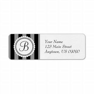 Candy Striper Monogram Address Labels (Black)