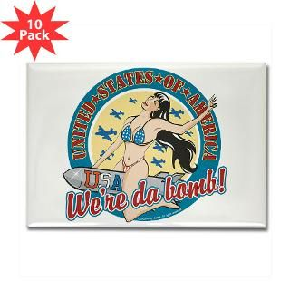 Patriotic Pinup Girl Rectangle Magnet (10 pack)