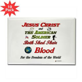 Jesus and Soldier Rectangle Magnet (10 pack)