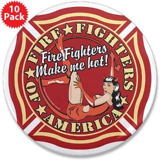 Patriotic Fire Fighter Pinup Girl 3.5 Button (10