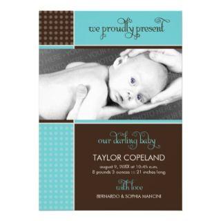 Modern Dots & Blocks Baby Birth Announcement