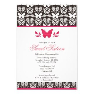 Hot Pink and Brown Butterfly Sweet 16 Invitaitons Custom Invite