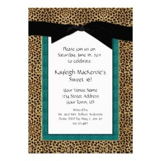 Leopard Print and Turquoise Sweet 16 Invitation