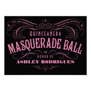 Invitaciones de la mascarada de Quinceanera Invitaciones Personales de