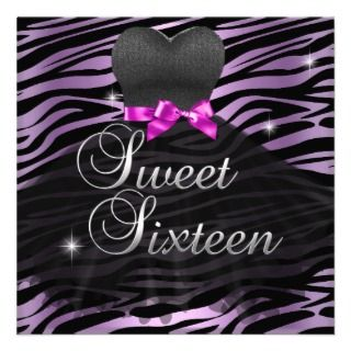 Sweet Sixteen Sweet 16 Pink Black Zebra Dress Personalized Invitations