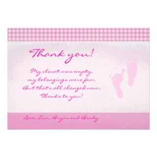 Feet Pink Baby Shower Thank you Flat card Invitations