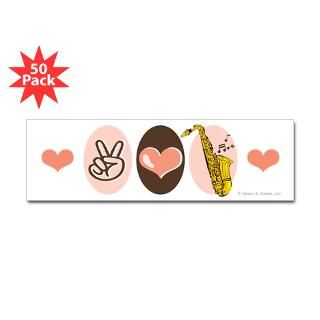 peace love saxophone sax bumper sticker 50 pk $ 189 99
