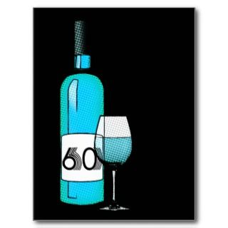 60th birthday  halftone wine bottle & glass personalized invites