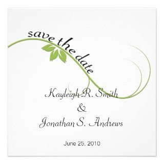 Green Leaf Swirl Save The Date Personalized Invite