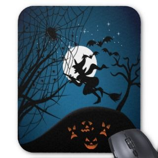 spooky halloween night witch and spiders vector mousepads