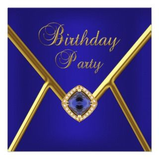 Birthday Party Deep Blue Gold Image Custom Announcements
