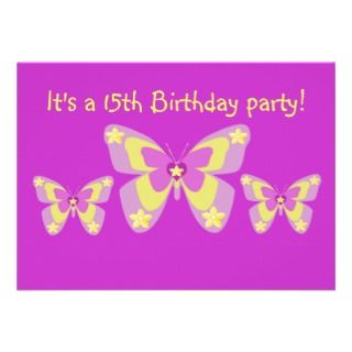 15th Birthday Party Invitation, Butterflies