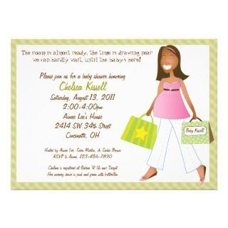 Shopping Mom Green Baby Shower Invitation w/ Poem