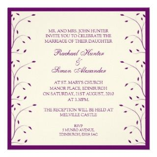 Creme & Purple Floral Wedding Invitiation Announcement